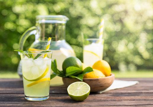 Fresh homemade lemonade with ice