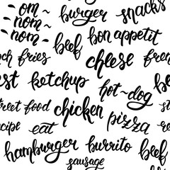 Isolated seamless pattern with hand lettering set of words for fast food. Vector