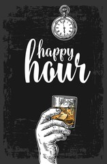 Male hand holding a glass with whiskey and ice cubes. Vintage vector engraving illustration for label, poster, menu. Dark background. Happy hour