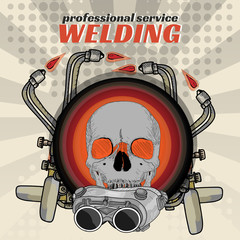 Professional welding skull sticker welder pop art