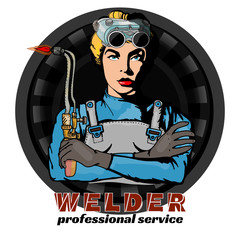 Professional woman welder pop art vector