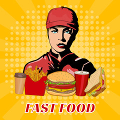 Fast food girl in a cap fast food working staff pop art style