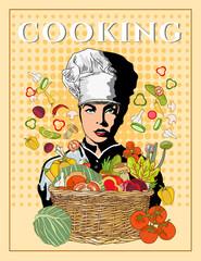 Woman chef beautiful girl cook pop art vector