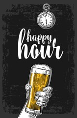 Male hand holding a beer glass. Vintage vector engraving illustration for label, poster, menu. Isolated on dark background. Happy hour