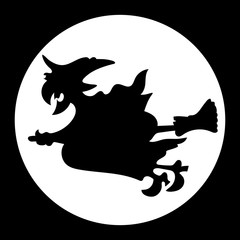 Witch flying over the moon