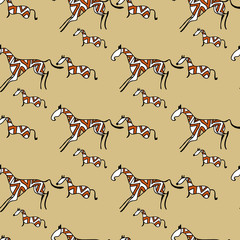 Horses ethnic seamless pattern vector