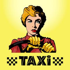 Taxi logo woman driving a car pop art
