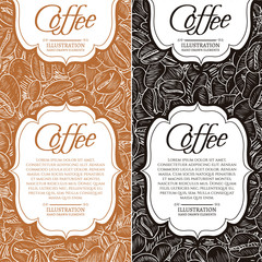 Black coffee and cappuccino concept roasted coffee beans