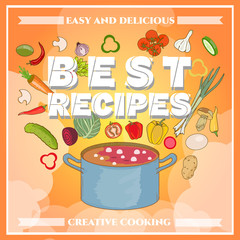 Cooking cook cookbook template fresh vegetables flying in a pan