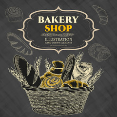 Bakery shop. Bakery basket. Blackboard.