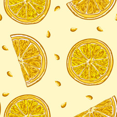 Lemon slices of lemon hand drawn seamless pattern
