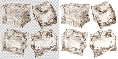 Set of four transparent and four opaque ice cubes in amber colors. Transparency only in vector file