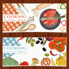 Cooking food banners fresh vegetables fry meat