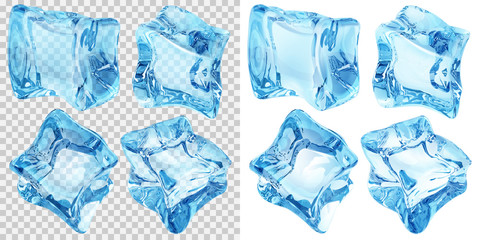 Set of four transparent and four opaque ice cubes in light blue colors. Transparency only in vector file