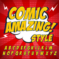 Comic retro yellow alphabet set. Letters, numbers and figures for kids' illustrations.