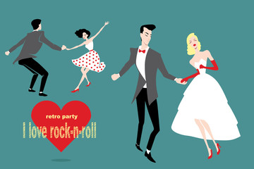 set of illustrations of couples dancing rock 'n' roll  in retro styles