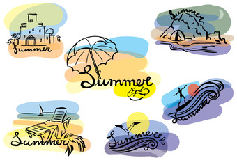 summertime sketch illustration set