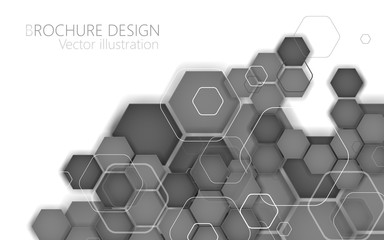Abstract black hexagon. Vector Illustration