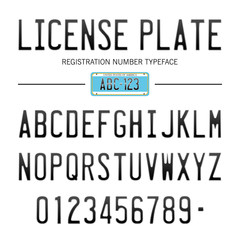 License Plate #2 / typeface with USA registration number / vintage typeface, font