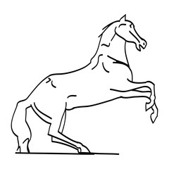 The outline of the horse on its hind legs