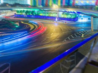 Fotobehang Nacht snelweg light trails in the downtown district,hongkong china.