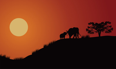 elephant silhouette walking illustration