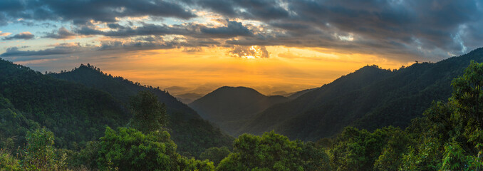 morning sunrise at doi angkhang mountain of chiangmai in Thailand