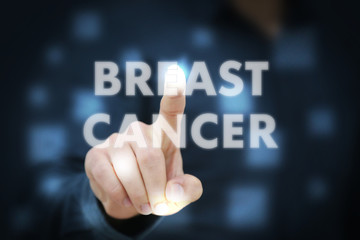 Businessman touching Breast Cancer