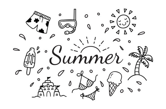 Summer related object in doodle style. Summer vector icon