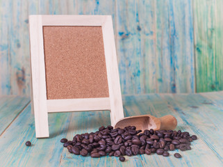 coffee beans and menu board on the wooden