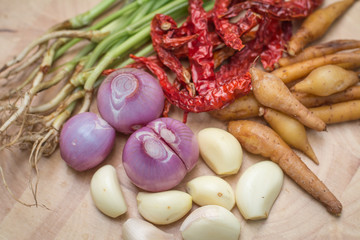 Fingerroot , Boesenbergia and Ingredient of Thai Red curry paste.