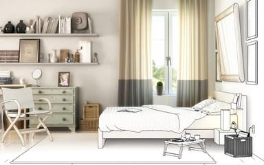 Schlafzimmereinrichtung (Zeichnung)