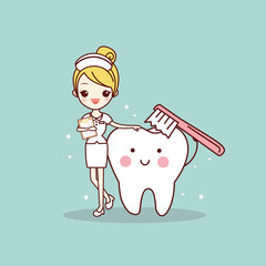 tooth and nurse with toothbrush