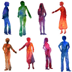 watercolor people silhouettes