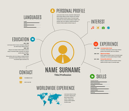 Vector resume web template cv with icons.