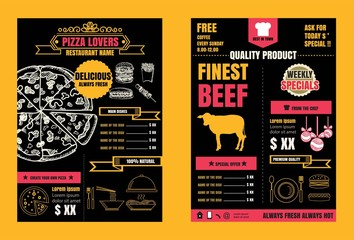 Brochure or poster Restaurant  food  pizza menu with Chalkboard