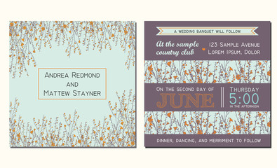 Wedding invitation card with floral background and decorated with hand drawn branch of flax