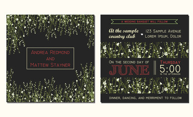 Wedding invitation card with floral background and decorated wit