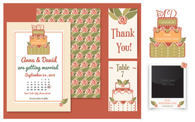 Vector set of invitation cards with cake badge and elegant background. Vintage cards or wedding invitations. Wedding collection with invitations, thank you card, table number card