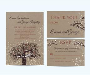 winter wedding invitation set on kraft