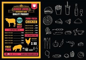 Brochure or poster Restaurant  burger menu with Chalkboard Backg