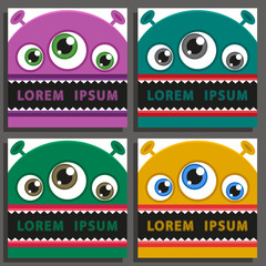 Four vector backgrounds set with comic monsters.