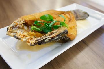 Deep fried sea bass with fish sauce, Thai Food