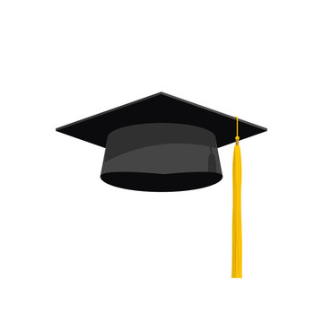 Graduation hat cap vector illustration, graduation hat icon, academy hat symbol flat simple cartoon design with shadow and yellow tassel isolated on white background