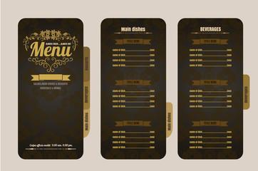 Restaurant Foods menu on brown background vector format eps10