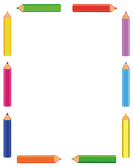 Colorful pencils frame against white background vector image