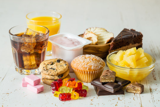 Selection of food high in sugar