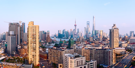 Wide panoramic view of Shanghai Skyline.