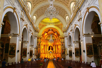Interior of Saint Peter Church in Lima, Peru