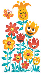 Small Garden / Small cartoon garden over white background. No transparency and gradients used.